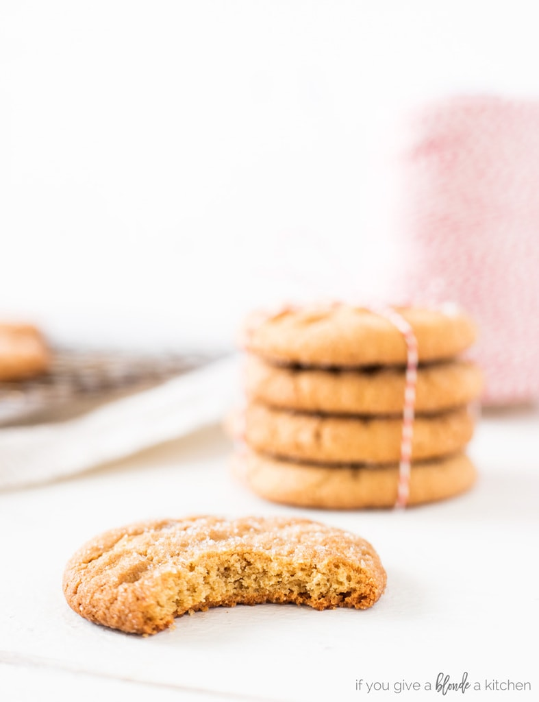 Classic peanut butter cookie recipe with bite taken out of cookie