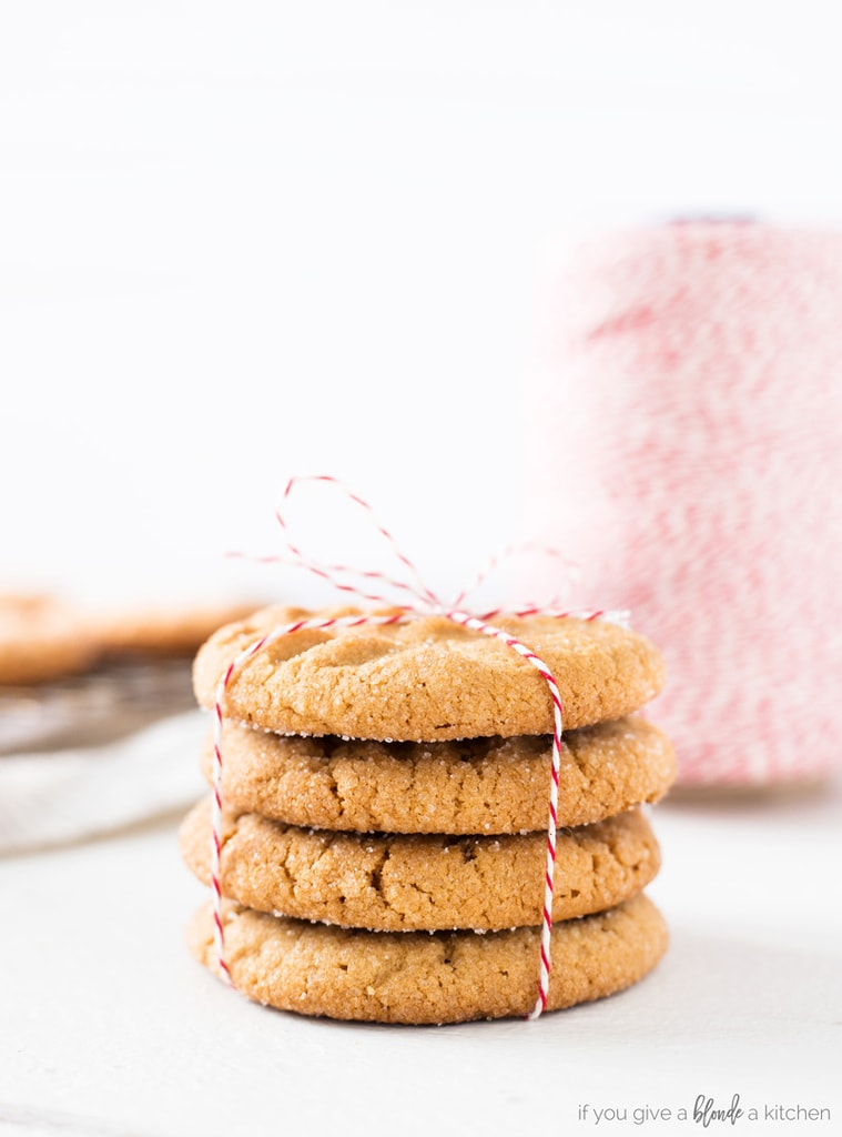Classic peanut butter cookie recipe with baking twine