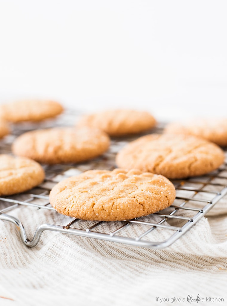 Classic peanut butter cookie recipe cookies cooling on wire rack