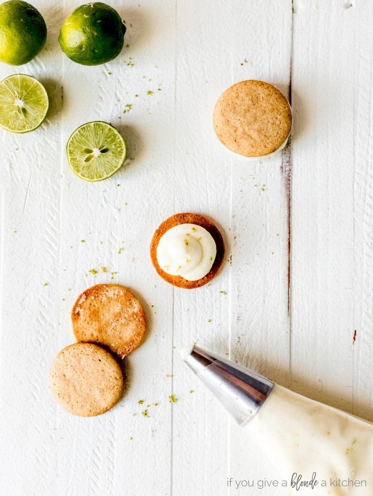 key lime pie cookies with cream cheese frosting and graham crackers