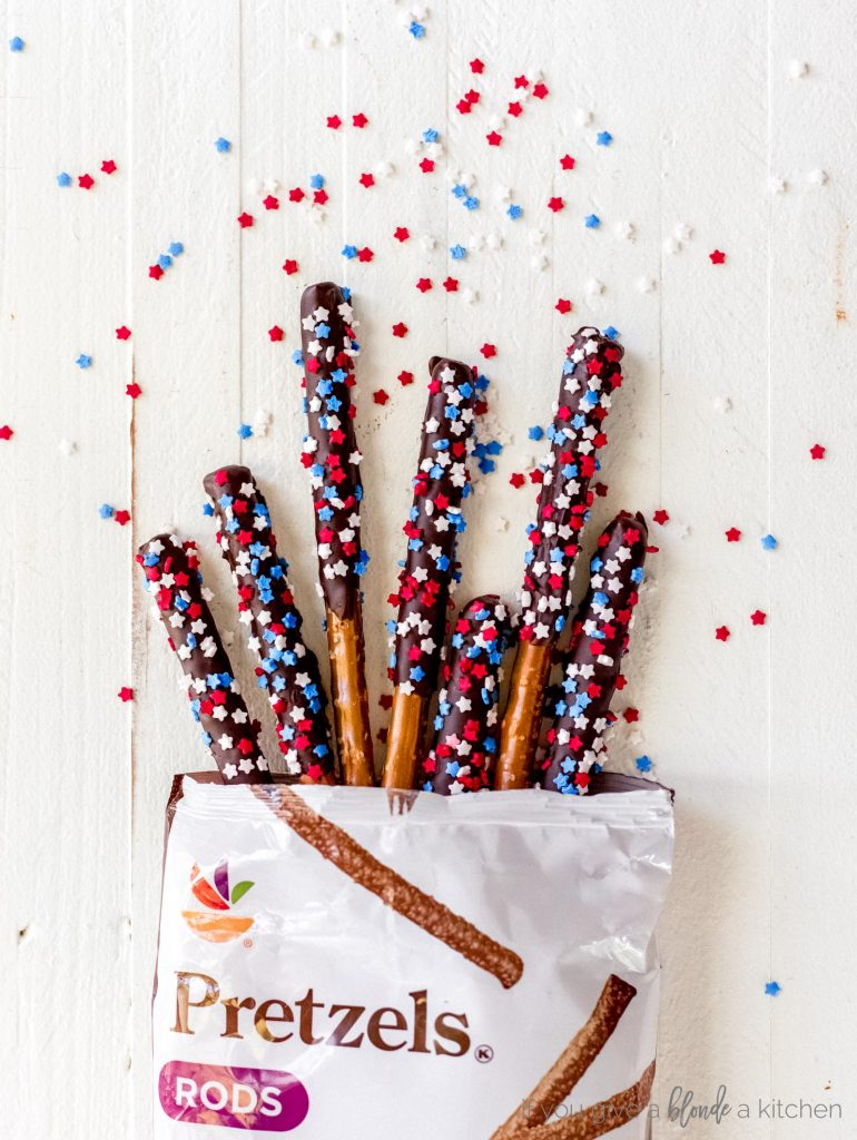 chocolate covered pretzel rods fourth of july in bag