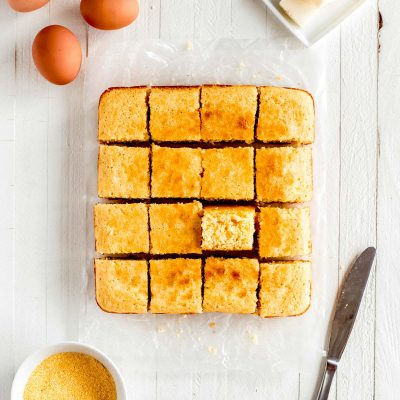 square cut northern cornbread with butter, eggs and yellow cornmeal