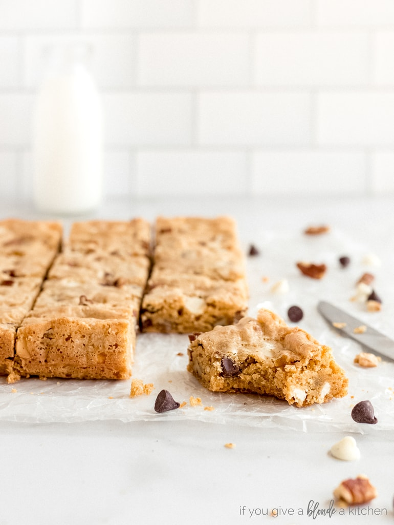 blondie bar with bite on parchment paper