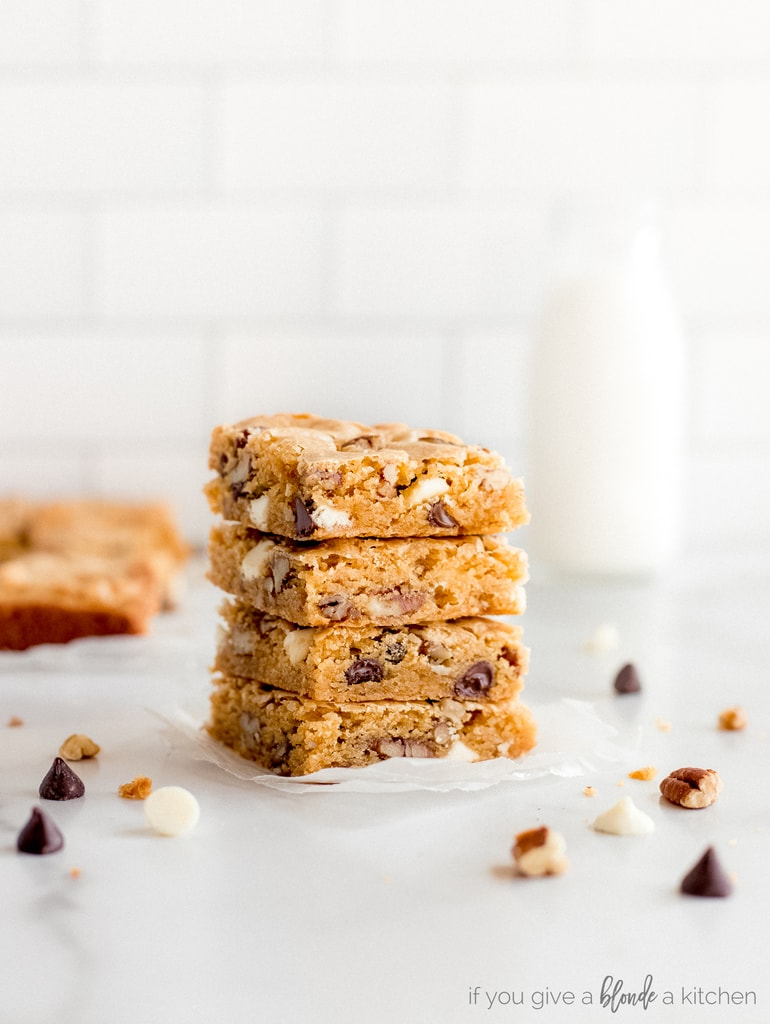 stack of four blondies squares with chocolate chips